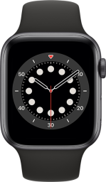 Apple Watch Series 6 Cellular 44mm Space Gray Aluminum Black Sport Band Pure Front Screen USEN