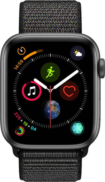 Apple Watch Series 4 4G 44mm Stellargrå Aluminium med svart loop