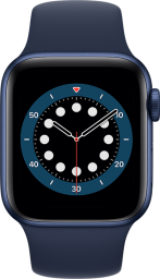 Apple Watch Series 6 Cellular 40mm Blue Aluminum Deep Navy Sport Band Pure Front Screen USEN