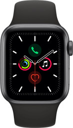 Apple Watch Series 5 GPS Space Gray Aluminum 40mm Sport Band Black Vertical Pure Front US-EN SCREEN