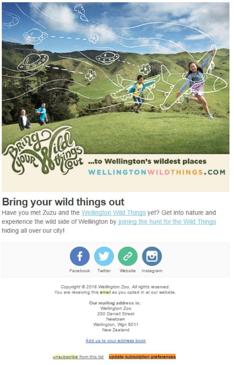 Wellington Zoo unsubscribe link example