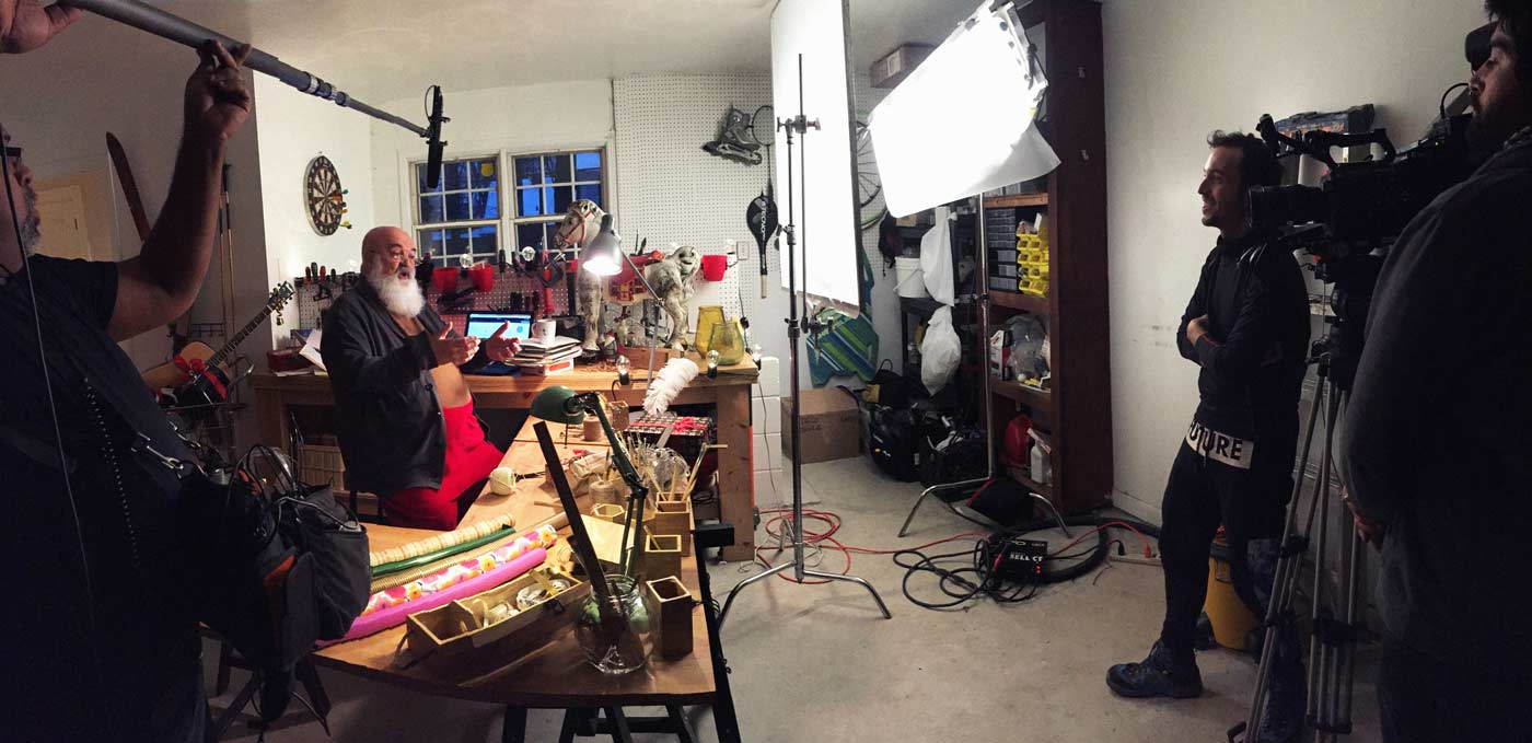 Documentary team on location with Santa