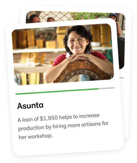 Asunta | A loan of $1,950 helps to increase production by hiring more artisans for her workshop.