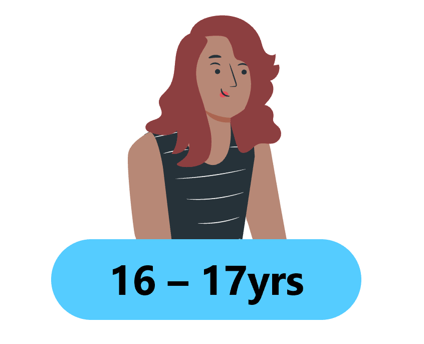 the image shows a cartoon style female with brown hair wearing a black t-shirt