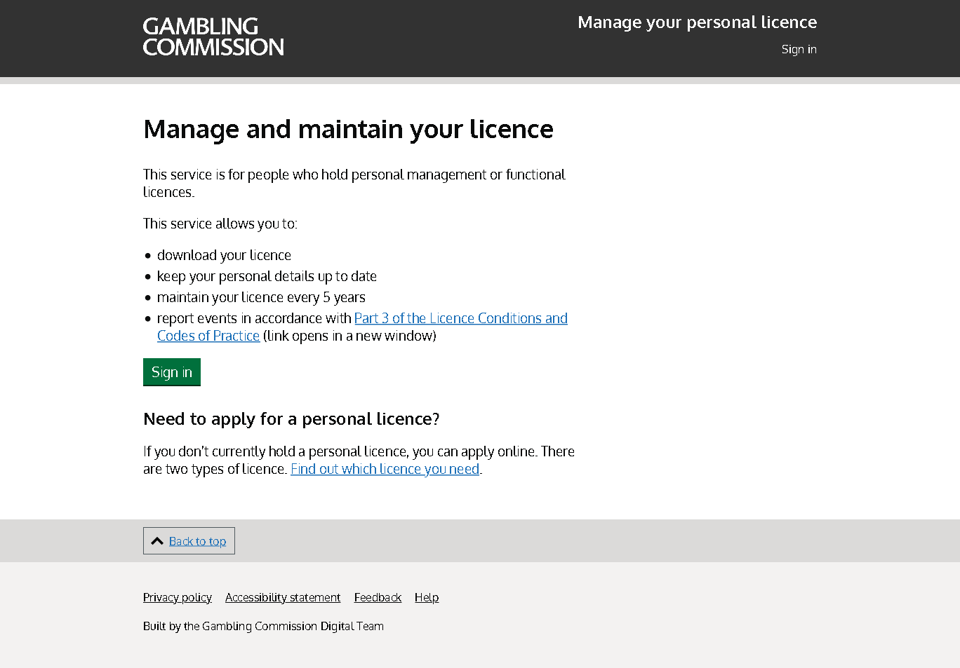 Screenshot of the Manage and Maintain your personal licence service