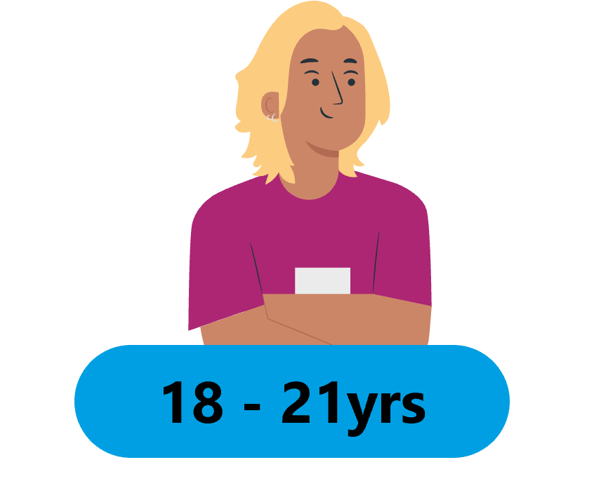 the image shows a cartoon style person with blonde hair wearing a pink t-shirt