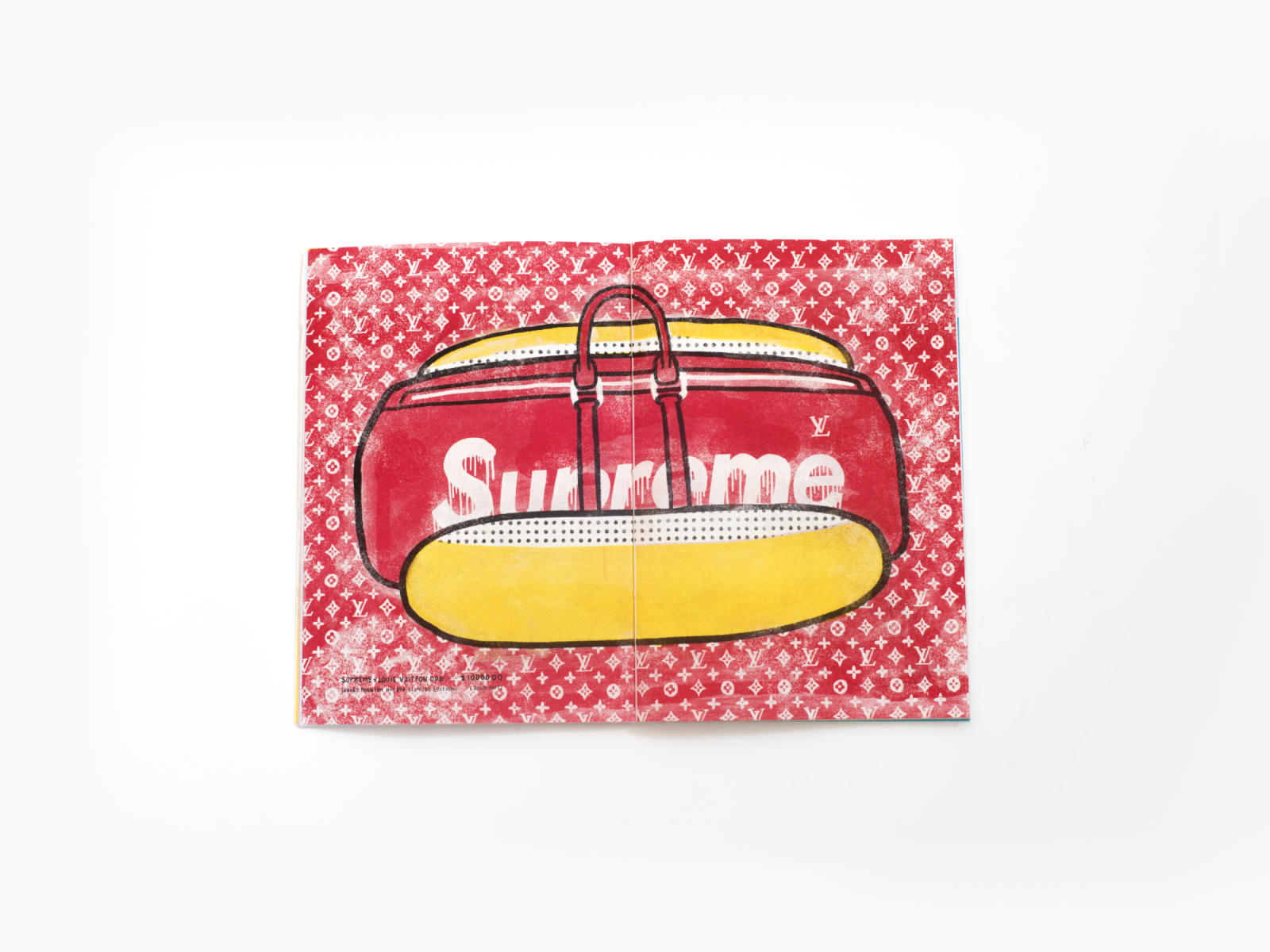 Supreme x Vuitton bag graphics printed by Risograph