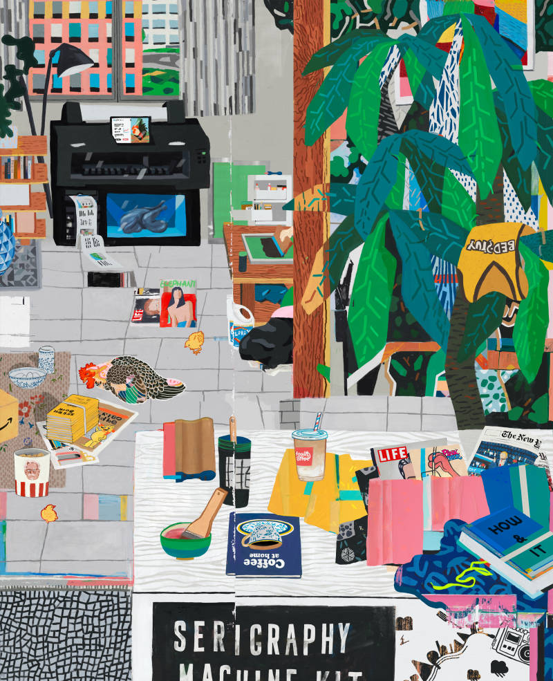 Contemporary art work depicting a room with Howlt advertisements and goods.