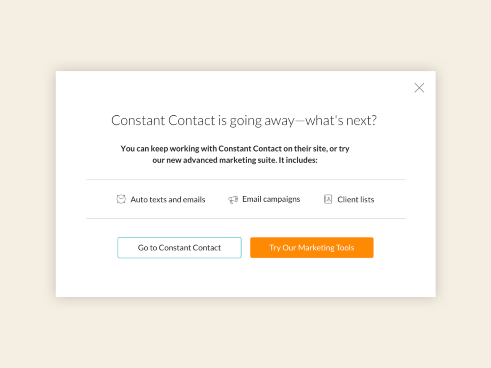 Modal providing messaging about Constant Contact going away