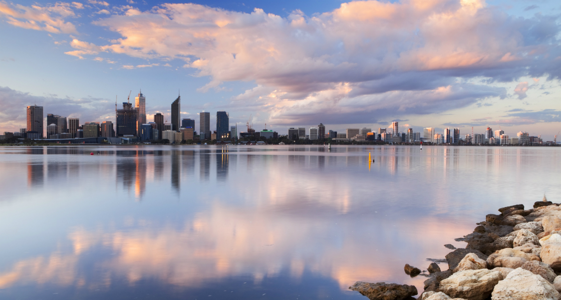 Perth CBD property from Swan River