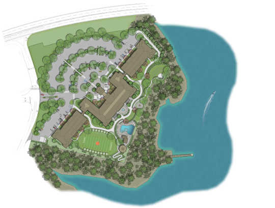 An illustrated site plan for Lakeside Lodge Clemson.