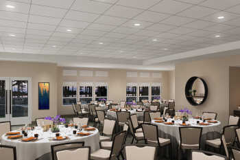 A rendering of the event space at Lakeside Lodge Clemson.