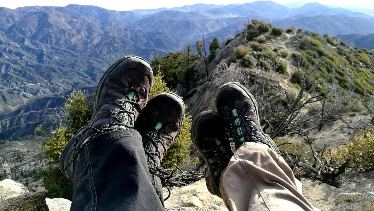 Hiking boots on the mountains.