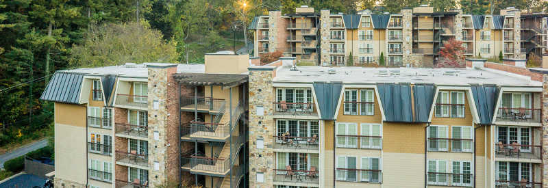 A bird's-eye view of condos and balconies at The Residences at Biltmore.