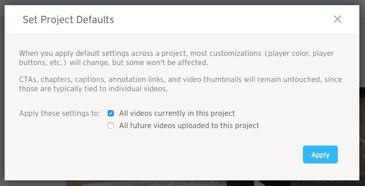 Apply Set Project Defaults