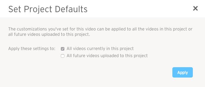 set project defaults modal