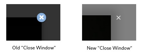 screenshot of old and new close window icons