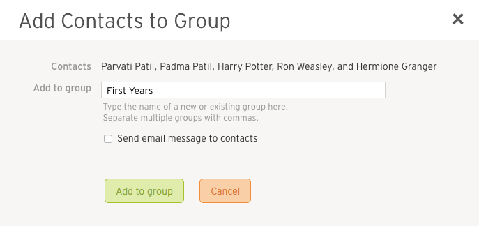 Adding contacts to groups