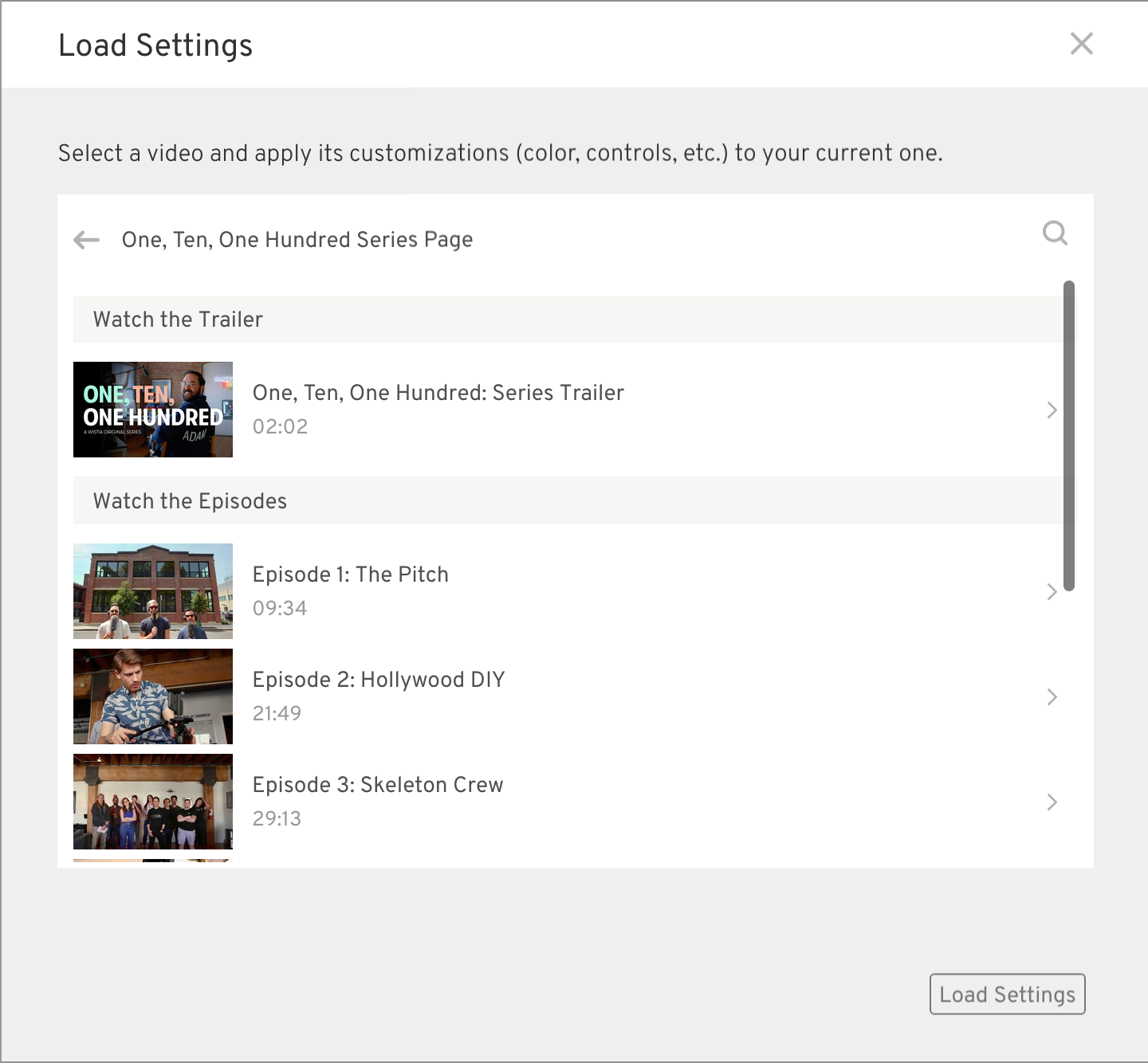 Customize your video v3 - load settings