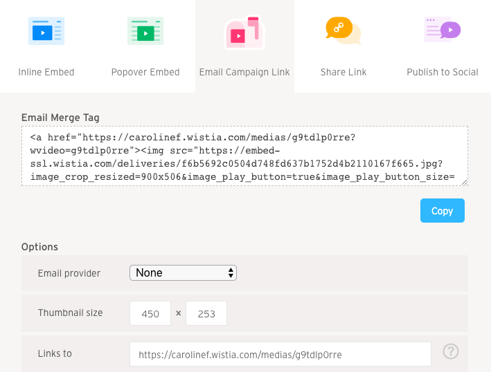 Email Campaign Link tab of Embed & Share modal