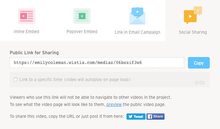 Embed and Share modal