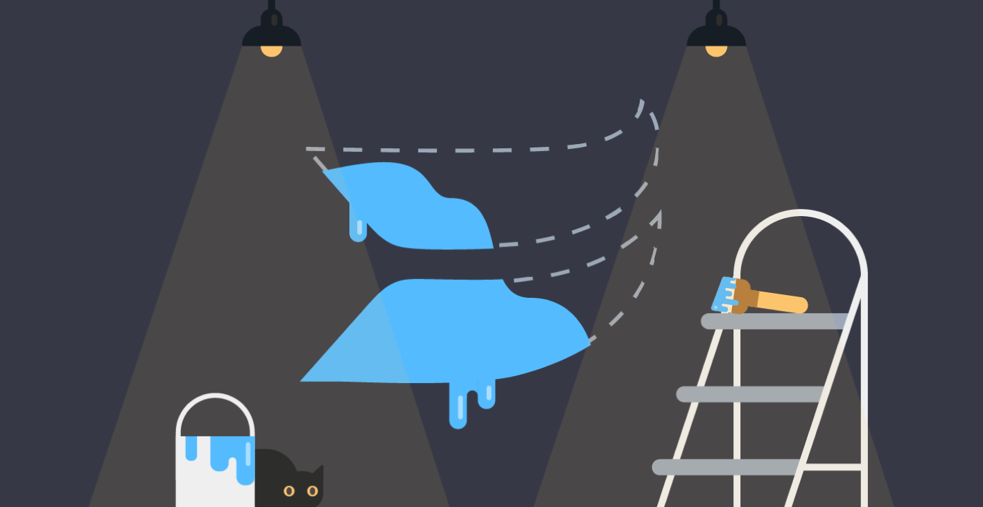 Media assets illustration of messy paint bucket filled with blue paint, ladder, half painted blue Wistia flag logo and a cat hiding in the shadows