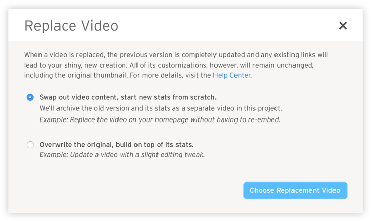 Replace Video Modal