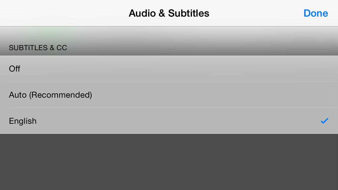 captions iOS menu