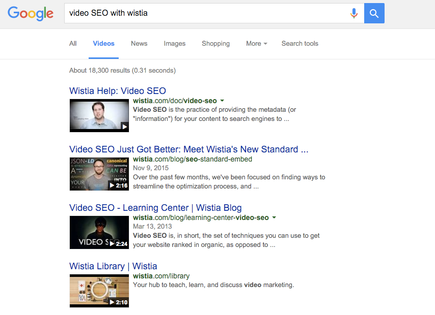 Video SEO Google Search Example
