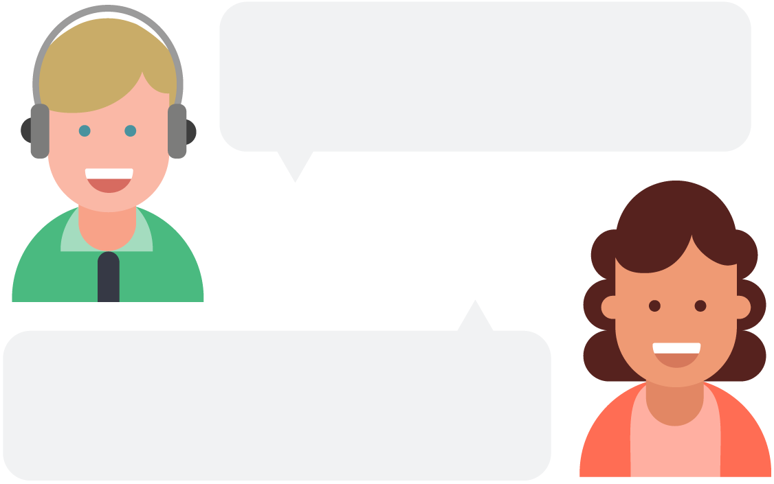 Illustration of two people with speech bubbles