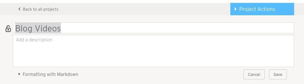 screenshot of project description editing field