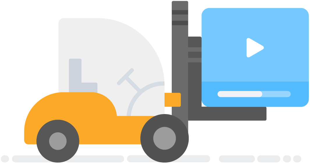 Illustration of a forklift picking up a blue play button