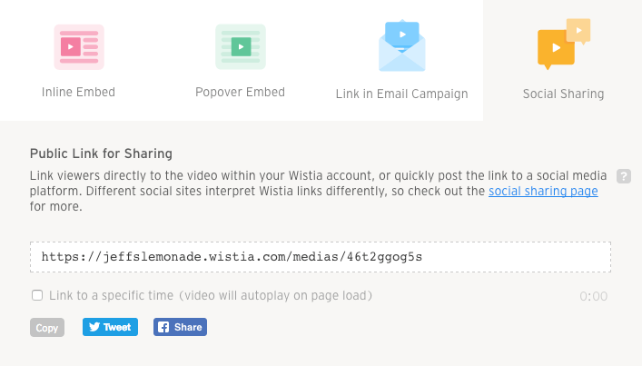 Social sharing embed and share modal vulcan player