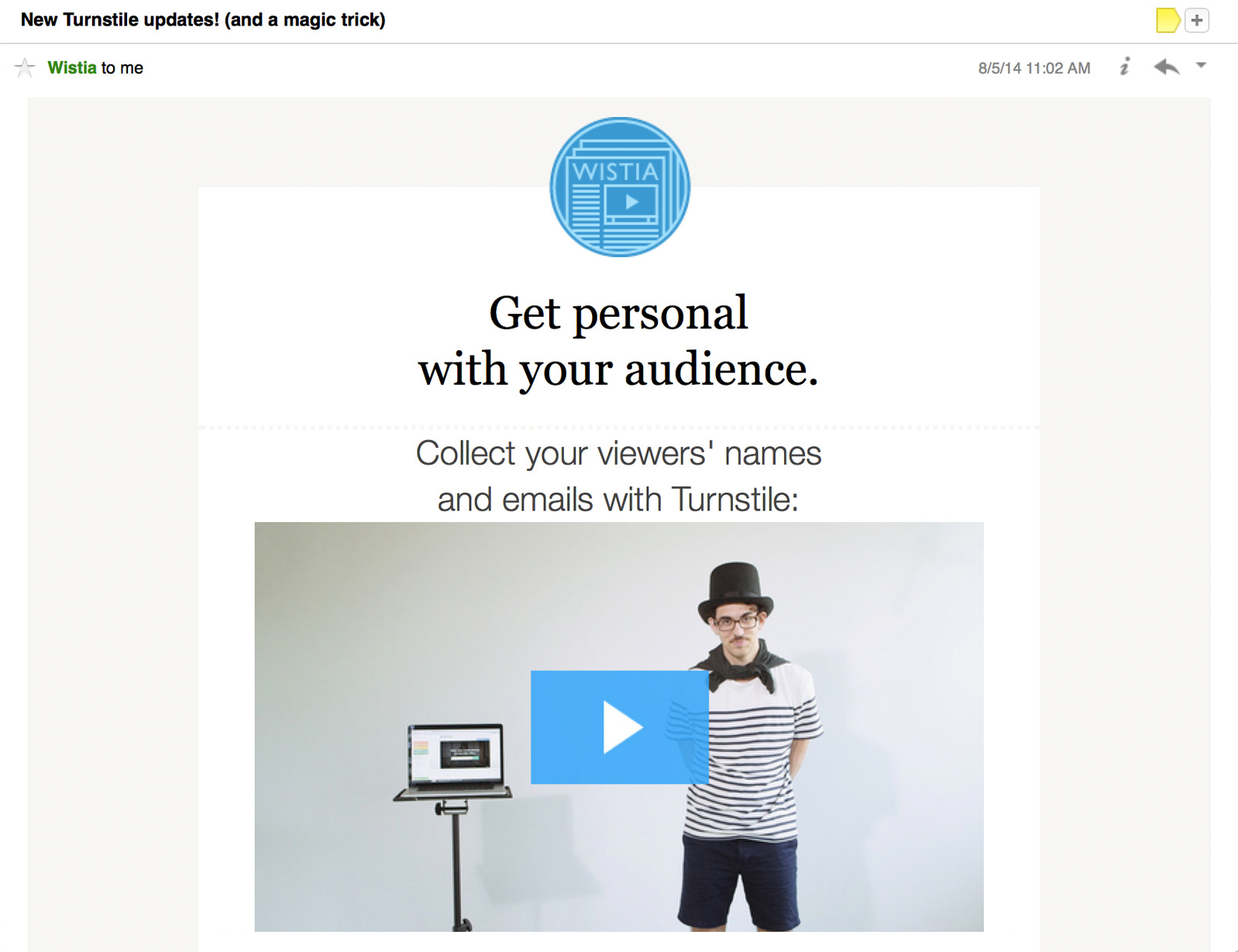 Using video and email together wistia learning center turnstile fbccfo Choice Image
