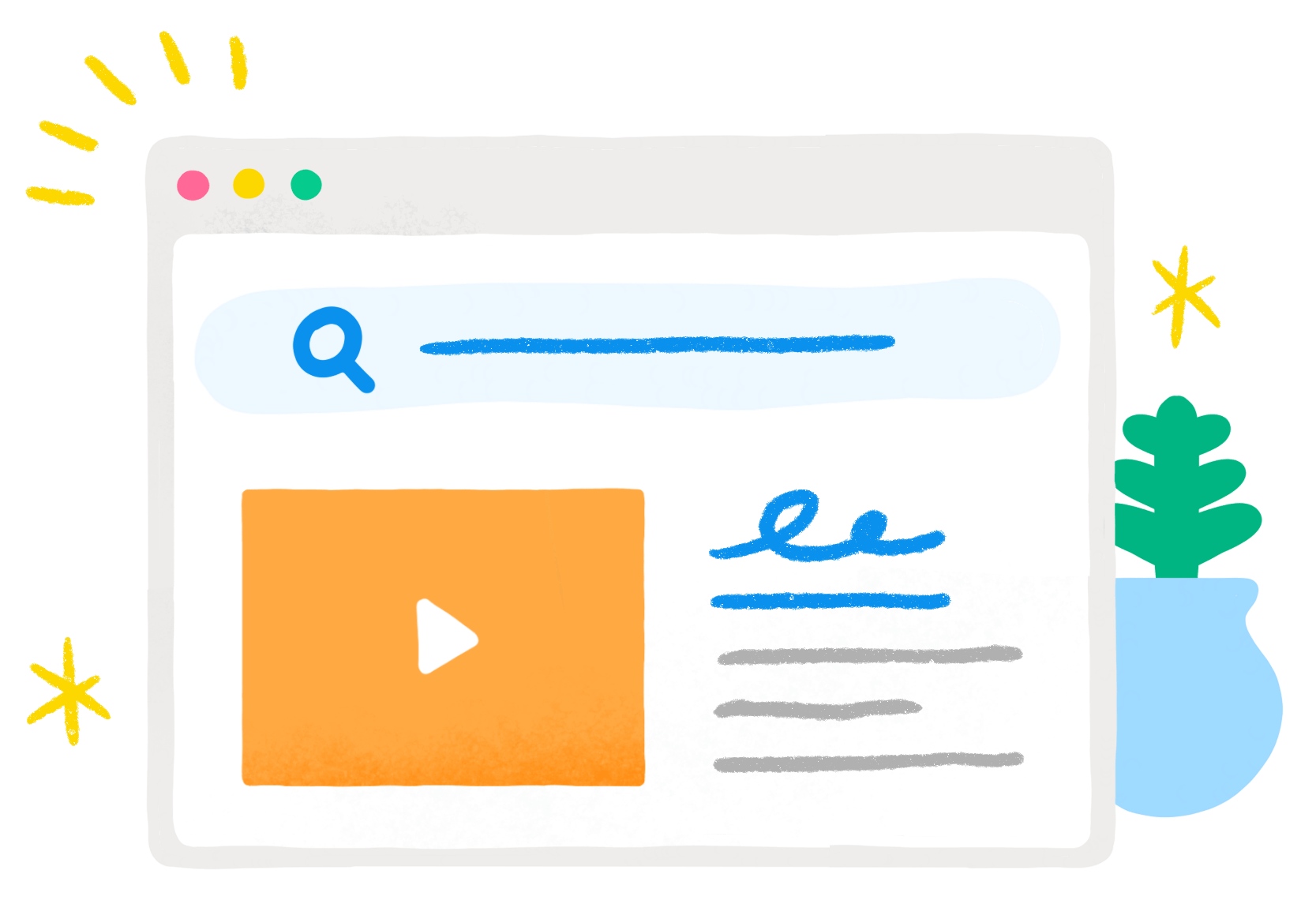 illustration of browser with video