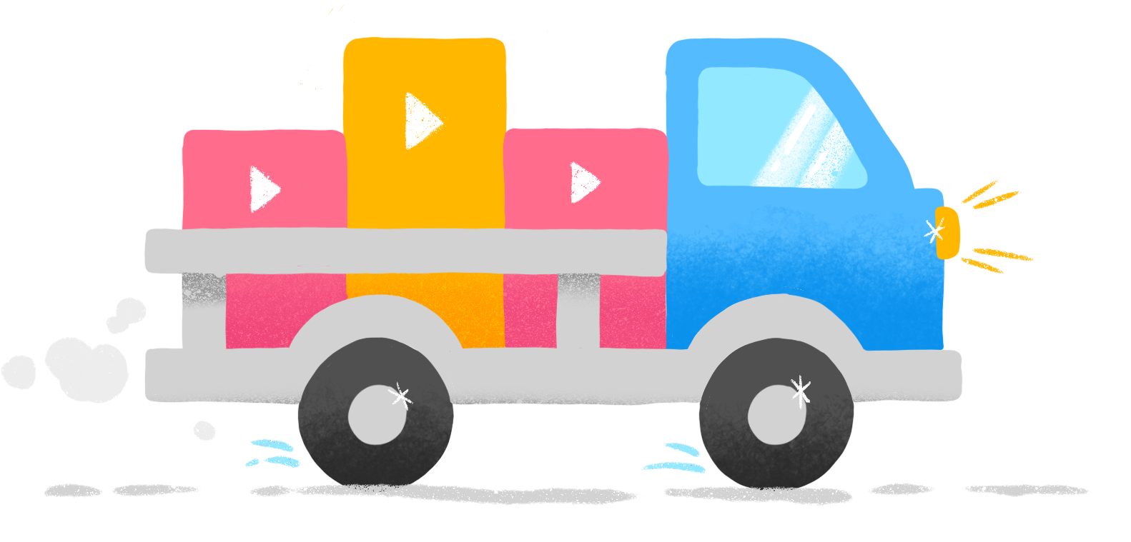 illustration of truck carrying play buttons