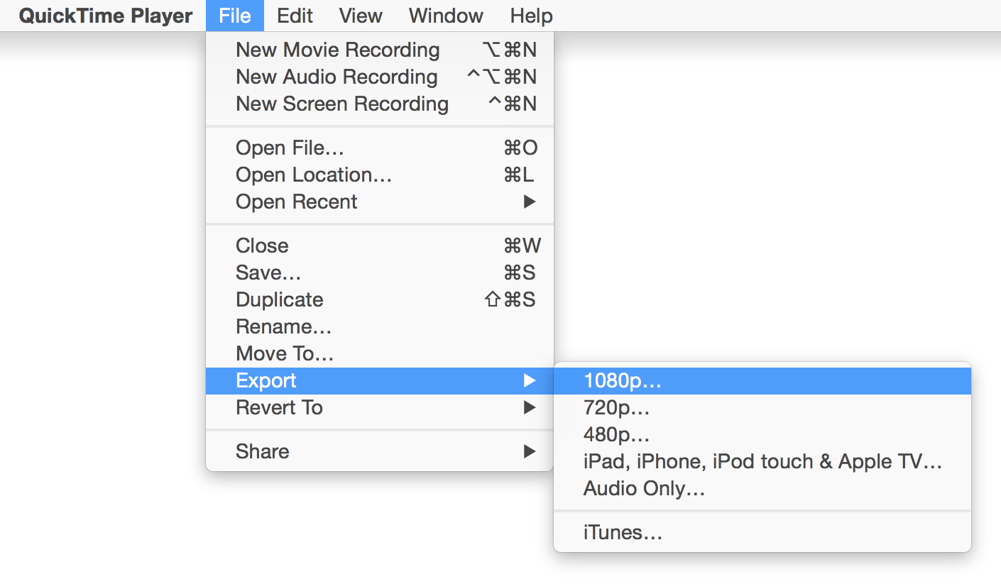 Quicktime export saving settings