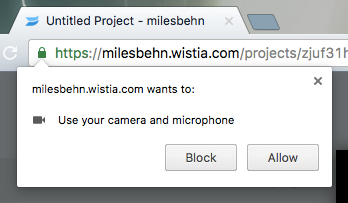 screenshot of Chrome permissions request for camera and microphone