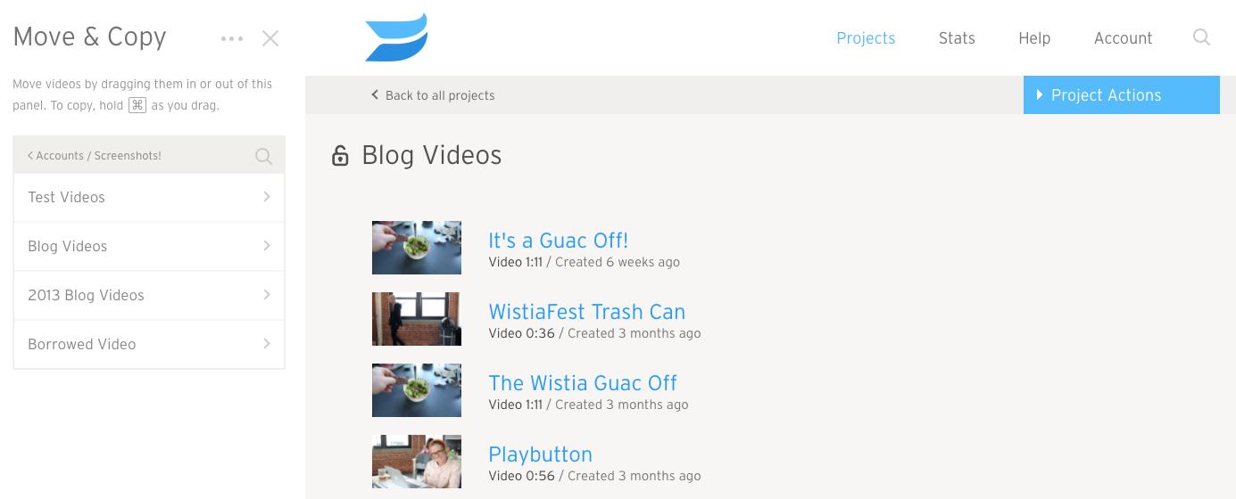 screenshot of Move & Copy sidebar menu