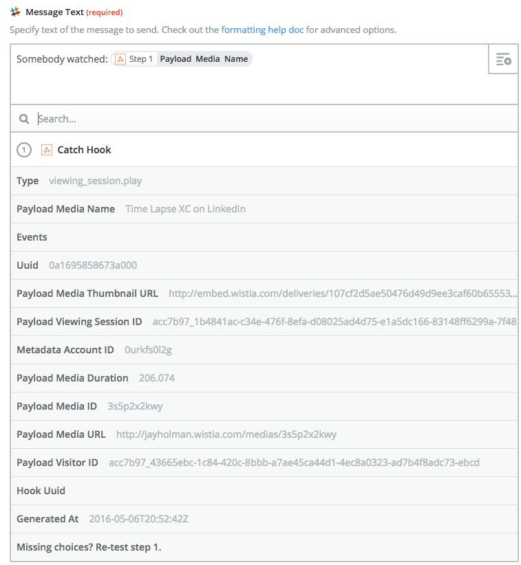 Slack Webhook example with Zapier