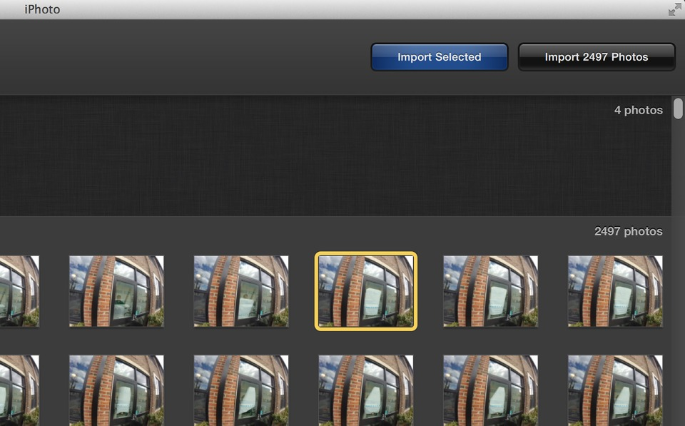 screenshot of photo editing software's import feature