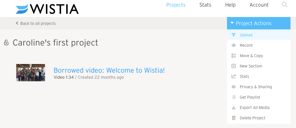 Project Actions > Upload video