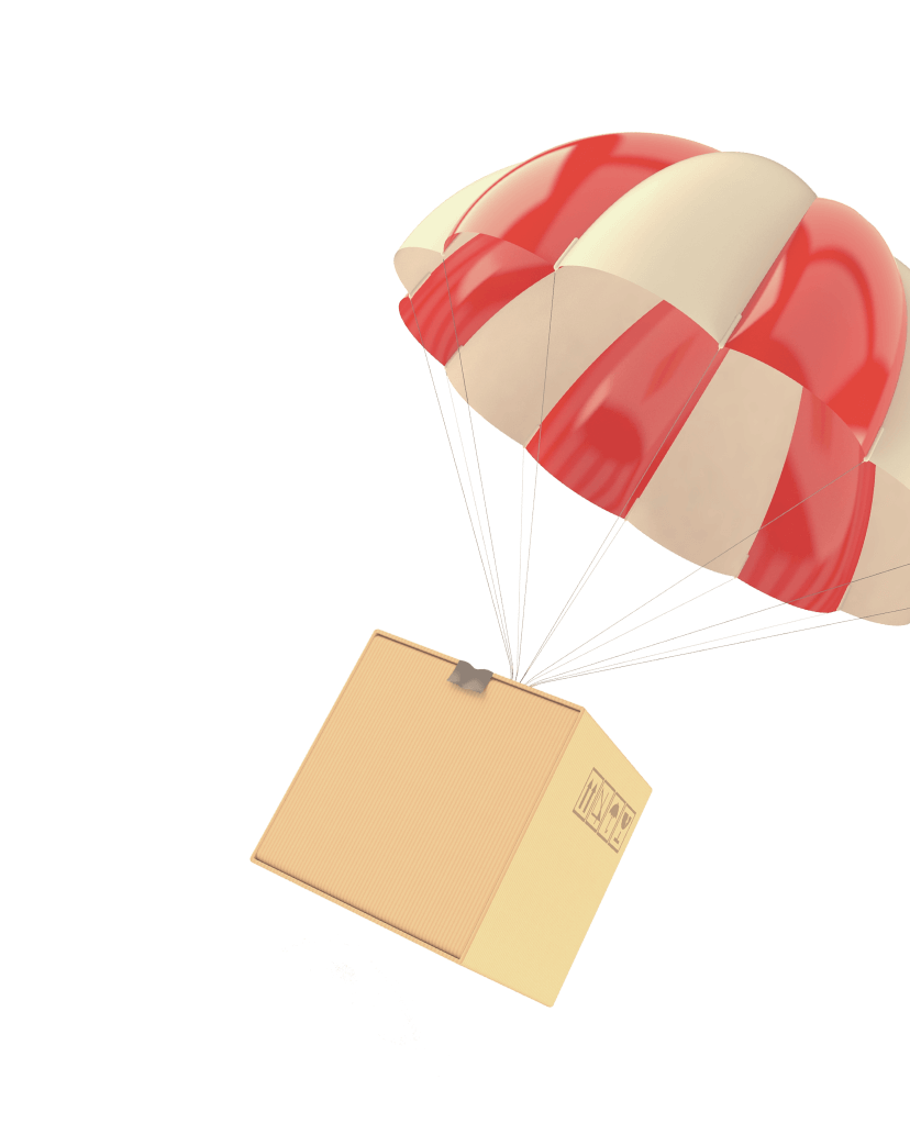 Box with a parachute