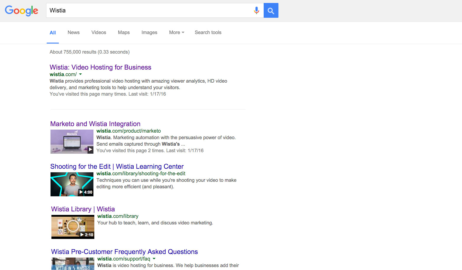 Screenshot of Google search results for Wistia