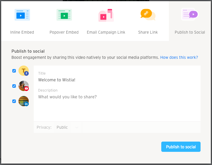 publish to social embed and share