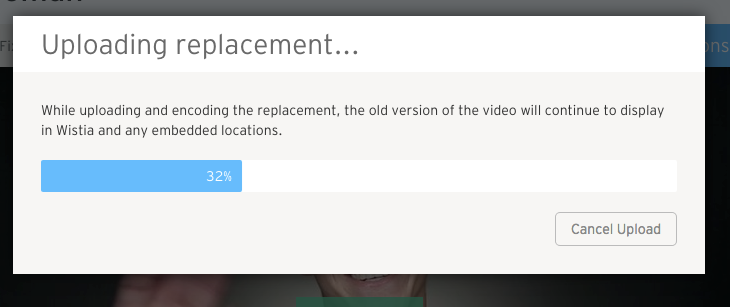 Uploading Replacement Modal
