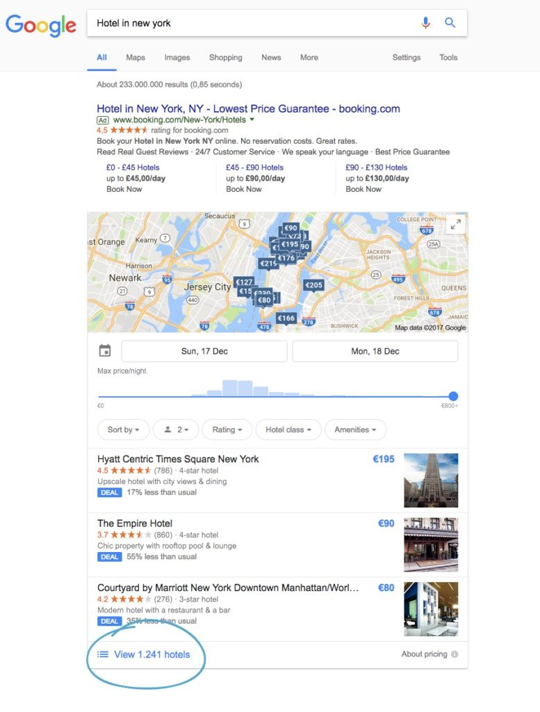 Google Hotel Ads generic search