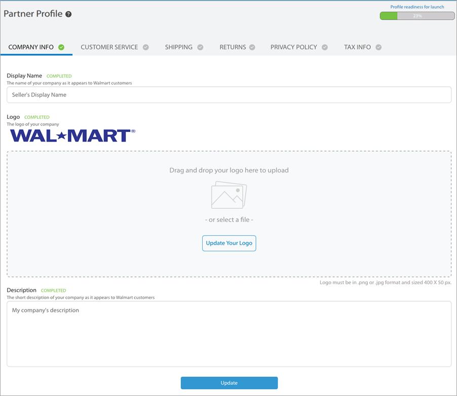 Walmart marketplace partner profile
