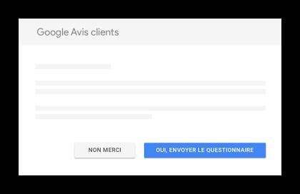 Google Avis clients questionnaire fenêtre