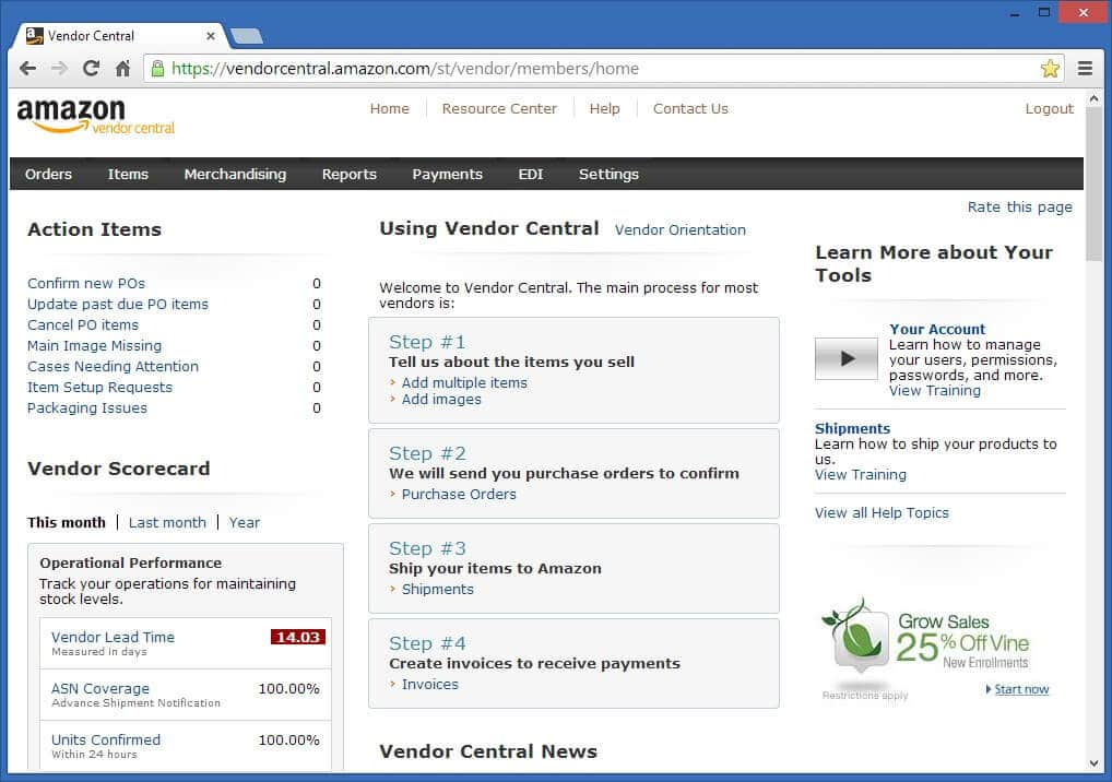 Amazon Vendor Central interface